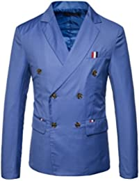 """<span class=""""a-offscreen"""">[Sponsored]</span>Mens Double-Breasted Fit Business Suit Notched Lapel Blazer Jacket"""