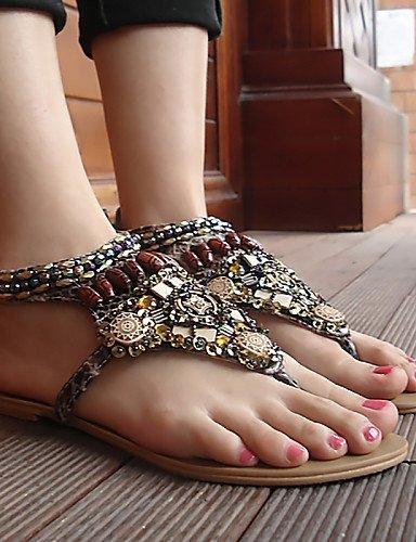 ShangYi Womens Shoes Flat Heel Slingback / Open Toe Sandals Casual Black / Beige / Burgundy Beige