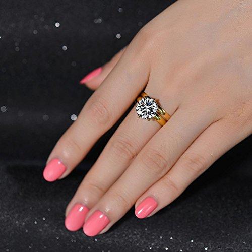 redfly 2,75quilates chapado en oro pulido de 18quilates de diamantes CZ Juego de anillos de boda