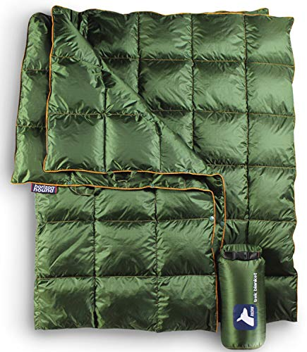 Horizon Hound Down Camping Blanket - Outdoor Lightweight Packable Down Blanket Compact Waterproof and Warm for Camping Hiking Travel - 650 Fill - Blanket Diamond Fleece