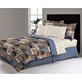 6pc Blue Tan Brown Hunting Themed Comforter Twin Set, Deer Bedding Moose Mountains Elk Pine Trees Comb Cabin Themed Lodge Plaid Lumberjack Pattern Wildlife Animals Woods Hunt Game, Microfiber