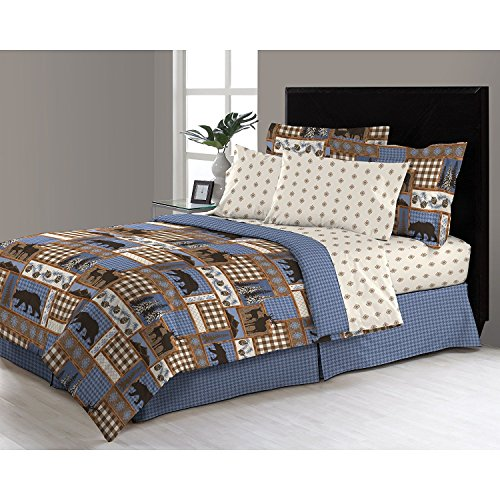 6pc Blue Tan Brown Hunting Themed Comforter Twin Set, Deer Bedding Moose Mountains Elk Pine Trees Comb Cabin Themed Lodge Plaid Lumberjack Pattern Wildlife Animals Woods Hunt Game, Microfiber by DP