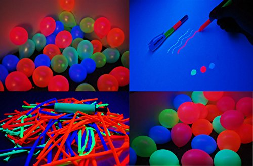 DirectGlow Brand 200 Piece Assorted UV Blacklight Reactive Latex Balloon Party (Uv Reactive Tube)