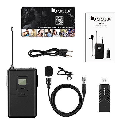 fifine wireless microphone for pc mac lavalier clip on unidirectional condenser microphone. Black Bedroom Furniture Sets. Home Design Ideas