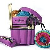 Stitch Happy Knitting Bag (Lilac): 7 Pocket Yarn Bag, Crochet Bag for Yarn Storage, Crochet Storage