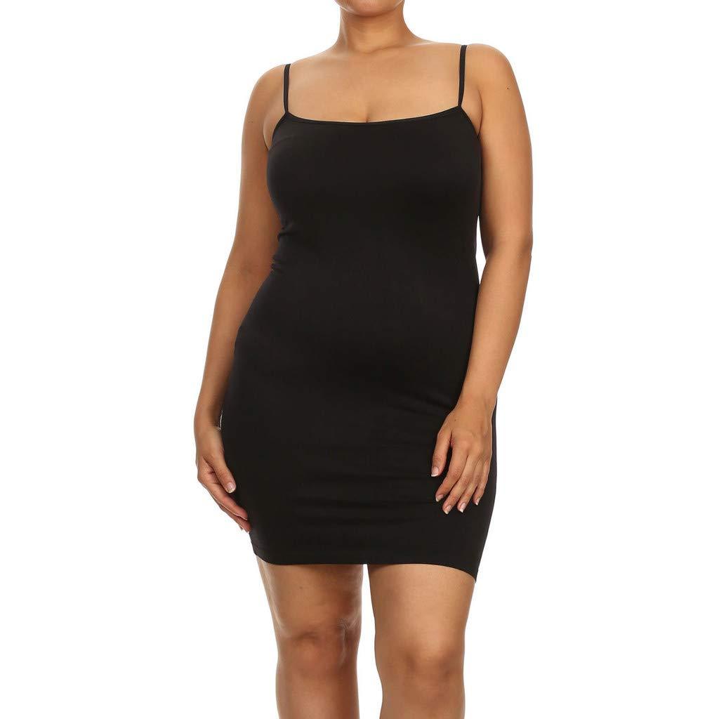 Plus Size Spaghetti Strap Dress for Women, Casual Bodycon ...
