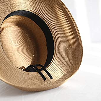 Straw Fedora Hat for Women Floppy Foldable Wide Brimmed Sun Protection Cap