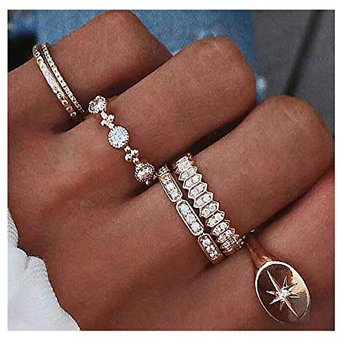 YRY 6 PCS Joint Knuckle Ring Set Gold Color Circle Open Ring for Women Girls (Rhinestone Ring) -