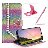 Diamond Wallet Leather Case for Huawei P30 Pro,Flip Cover for Huawei P30 Pro,Herzzer Luxury 3D Beaded Decor Heart Buckle Magnetic Rainbow Pink Glitter Stand Case with Inner Soft Rubber Case