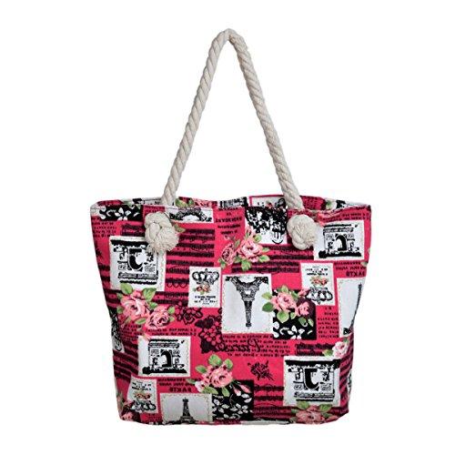 Paris Eiffel Tower Music Notes Floral Print Canvas Tote Shoulder Bag Handbag, Fuchsia ()