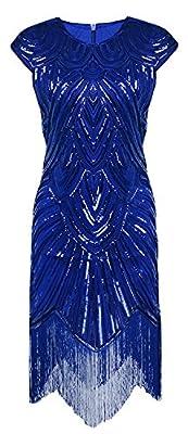 Z&X Women's 1920s Beaded Sequin Embellished Fringe Flapper Cocktail Dress
