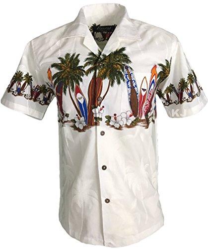 Favant Tropical Luau Beach Surfboard Print Men's Hawaiian Aloha Shirt (X-Large, - Surfboard Tropical