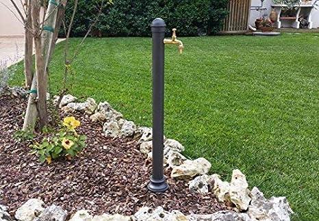 Fontana a colonna in ghisa e acciaio con rubinetto per casa giardino