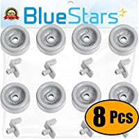 Ultra Durable WD35X21041 Dishwasher Lower Rack Roller & Stud Replacement Kit by Blue Stars – Exact Fit For GE Dishwashers – Replaces WD12X10136 WD12X10277 WD12X10261 - PACK OF 8
