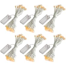 accmor 6 Pack 10ft/3m 30 LEDs Mini Bulb Battery Operated Fairy String Lights, Super Bright Starry Light for Gift Wedding Party Bedroom Home Decoration Crafts (UL Certified, Warm White)