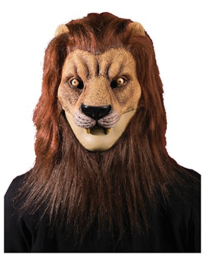 [Forum Novelties Men's Latex Lion Mask with Hair, Brown, One Size] (Cowardly Lion Costumes For Adults)