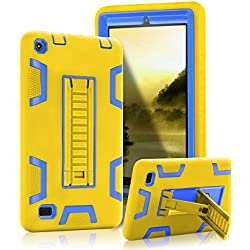 """SKYLMW Fire 7"""" (2015 release) Case,[Kickstand Feature],Shock-Absorption / High Impact Resistant Heavy Duty Armor Defender Case For Amazon Fire 7 Inch Tablet,Yellow Blue"""