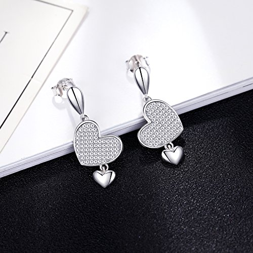 925 Sterling Silver Crystal Double Love Heart Dangle Drop Earring Set Jewelry Sets for Women Girl by EURYNOME (Image #2)
