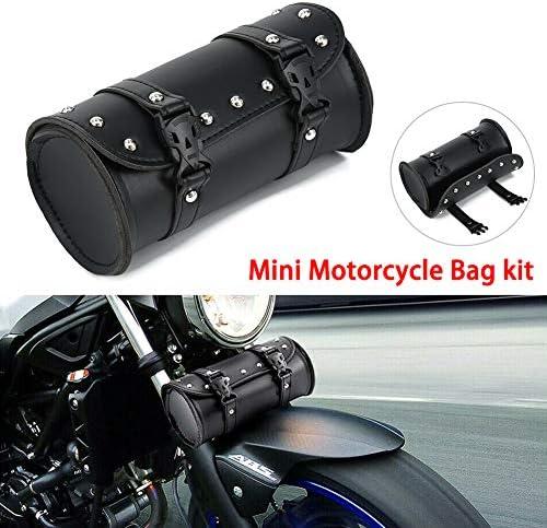 Joyfan Motorrad Lenkertasche Motorrad Leder Werkzeugtasche Für Harley Yamaha Honda Shadow Kawasaki Suzuki Vulcan Schwarz Auto