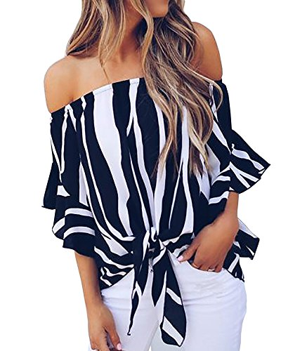 PiePieBuy Women Sexy A-Line Off The Shoulder Flare Trumpet Three-Quater Sleeve Floral Print Blouses Tops (M, Black) ()