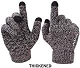 Achiou Winter Knit Gloves Touchscreen Warm Thermal Soft Lining Elastic Cuff Texting Anti-Slip 3 Size Choice for Women Men (Black & White Thick, XL)