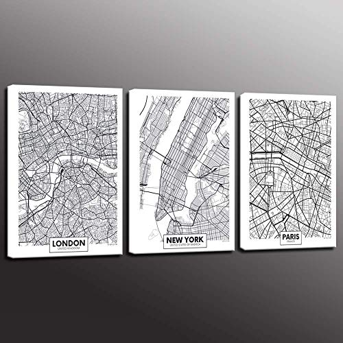 Biuteawal - 3 Piece Canvas Print Linear City Map Painting Wall Art Minimalist Style Poster London Paris New York Aerial View Canvas Artwork Stretched and Framed for Home Living Room -