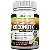 ORGANIC COCONUT OIL Capsules - 180 Softgels - 4000 MG Daily - Cold-Pressed Extra Virgin Coconut Oil - Certified USDA Organic - Great For Hair, Skin And Acne - Promotes Weight Loss (Packaging may vary)