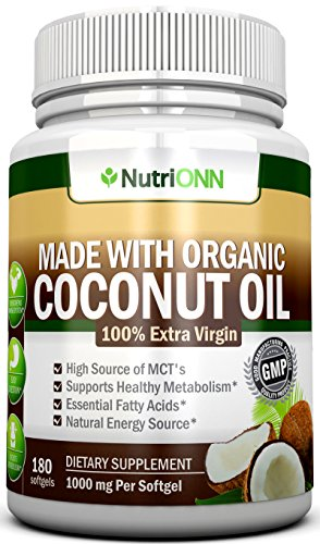 ORGANIC COCONUT OIL Capsules - 180 Softgels - 4000 MG Daily - Cold-Pressed Extra Virgin Coconut Oil - Certified USDA Organic - Great For Hair, Skin And Acne - Promotes Weight Loss (Packaging may vary) ()