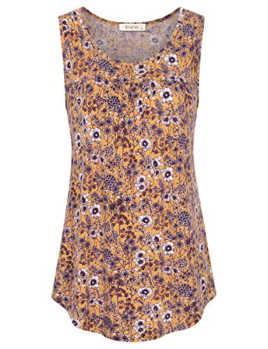 - Lingfon Women's Sleeveless Scoop Neck Casual Pleated Front Tank Shirt(XXL,Floral Yellow)