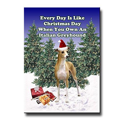 Italian Greyhound Christmas Holidays Fridge Magnet ()