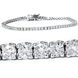 3ct. Round Cut Diamond Tennis Bracelet In 14k White Gold 7""