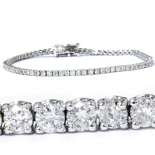 3ct Round GENUINE Diamond Tennis Bracelet 14K White Gold Womens 7'' Brand New by P3 POMPEII3