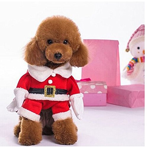 NACOCO Pet Christmas Costumes Dog Suit with Cap Santa Claus Suit Dog Hoodies Cat Xmas Costumes (Red, - http://coolthings.us