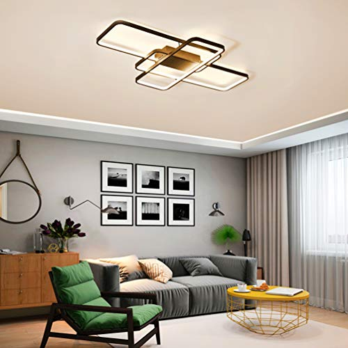 LED Lámpara de Techo de Salón 3 Square Luz de Techo de Comedor Moderno Regulable control remoto Dormitorio Decoración…