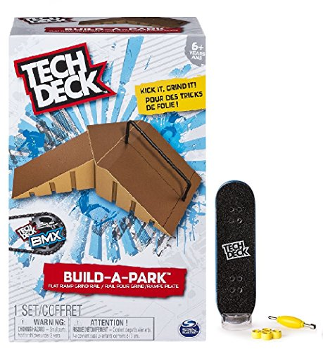 Tech Deck Build-A-Park - Flat Ramp Grind Rail (Brown) and a Tech Deck 96mm Fingerboard (styles vary)