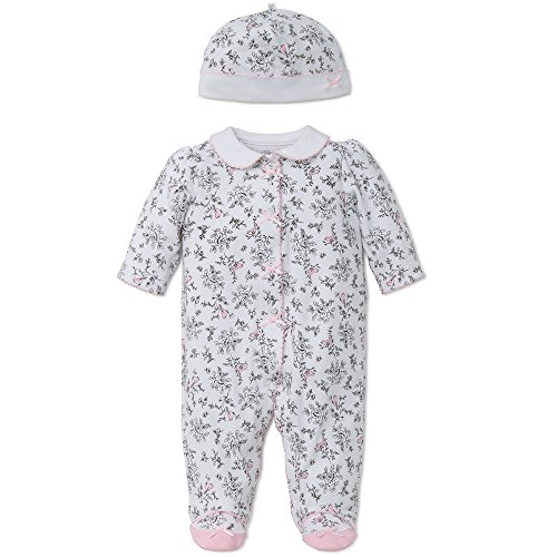 Little Me Baby Toile Footie with Hat, Bird, 9 Months (Toile Baby Girl)