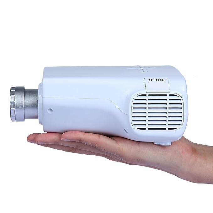DBPOWER Mini proyector LED pórtatil, USB y tarjeta SD Card, Reproducción directa, compatible con interface VGA/HDMI/ AV