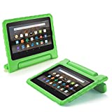 TNP Fire HD 7 Case - Kids Shock Proof Soft Light Weight Childproof Impact Drop Resistant Protective Stand Cover Case with Handle for Amazon Fire HD 7 Inch Tablet 5th Gen 2015 Release (Green)