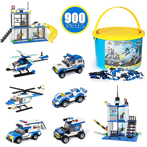Building Blocks Toys City Police Station , 900 Pcs 8 Models, Exercise N Play Early Learning Creative DIY Construction Toy for Boys Girls with Storage Bucket