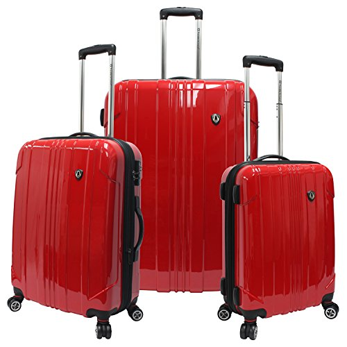 Traveler's Choice Sedona 8-Wheels Polycarbonate Hardside Expandable Spinner 3-Piece Luggage Set, Red (21