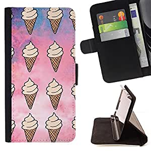 Ice Cream Pattern Sky Sweet Summer - Painting Art Smile Face Style Design PU Leather Flip Stand Case Cover FOR Samsung Galaxy Note 4 IV @ The Smurfs