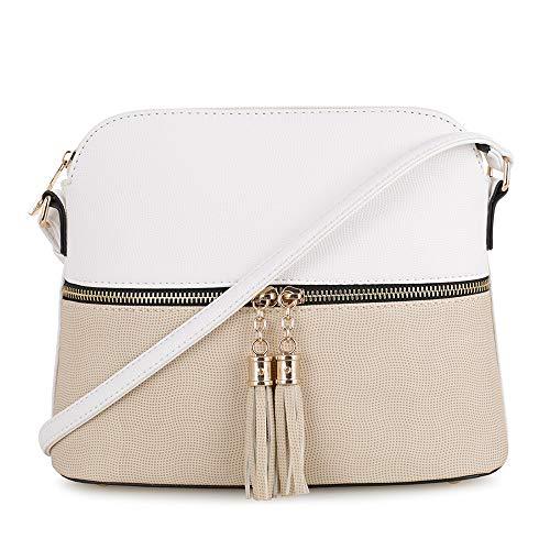 (SG SUGU Lightweight Medium Dome Crossbody Bag with Tassel | Zipper Pocket | Adjustable Strap (White/Beige))