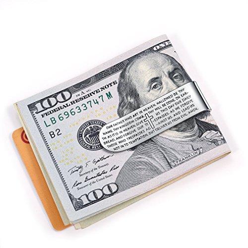 Business À Croix Pince Bible Faithheart Crédit Acier Billets Clip Gravure En Inoxydable Doré Carte De Holder Portefeuille Money acier Couleur Commercial ZH55fqwd