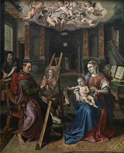 Mary I Of England Costume (Oil Painting 'Maerten De Vos - Saint Luke Painting The Madonna, 1602' Printing On Polyster Canvas , 24x30 Inch / 61x76 Cm ,the Best Kids Room Artwork And Home Decoration And Gifts Is This Beautiful Art Decorative Prints On Canvas)