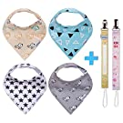 Bandana Bibs (4 Pack) With 2 FREE Pacifier Clips, 2016 Collection, Unisex, Baby Gift by Chicky Joy