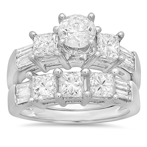 Set Three Baguette Diamond Band - 3.10 Carat (ctw) 14k White Gold Round, Princess & Baguette Cut Diamond Ladies Bridal 3 Stone Engagement Ring With Matching Wedding Band Set 3 1/10 CT (Size 7)