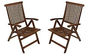 2x Respaldo Alto Bayamo–Silla plegable, madera de eucalipto, certificación FSC)