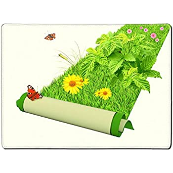 MSD Placemat IMAGE ID 20640460 Carpet with bright green grass and flowers Isolated over white