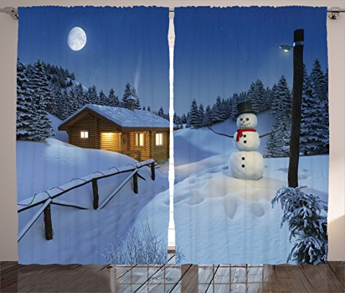 Christmas Curtain Snowman Christmas Decorations for Bedroom by Ambesonne, Wooden Rustic Log Cottage Scenery Winter Night Warm Moonlight Spirit, Living Room 2 Panels Set, 108 X 84 Inches, Blue White