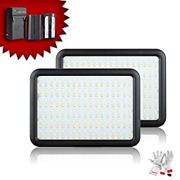 Pergear Ultra-Thin 204 led Video Light Panel 3200K-5600K Adjustable with Hotshoe Adapter and 2200mAh Rechargeable Batteries - Pack of 2